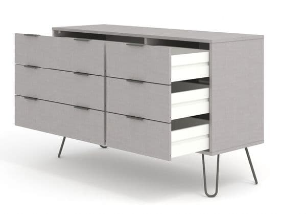 Nova Grey 3+3 Wide Chest of Drawers - AGG533